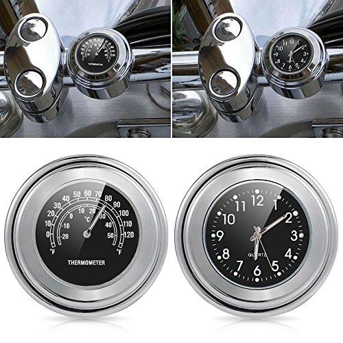 Wasserdichte Universal-Uhr und Thermometer für Motorrad-Lenker von 2,2 cm bis 2,5cm (7/8Zoll bis 1 Zoll)