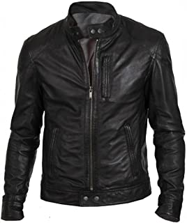The Leather Factory Men's Black Classic Fashion Biker Jacket in Real Leather