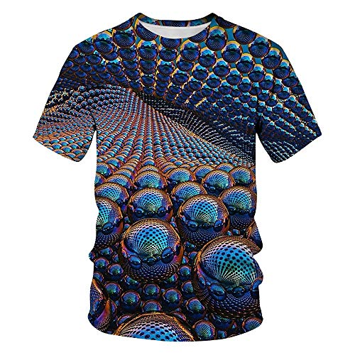 Zaima Summer Abstract 3D Printed T-Shirt Male Colorful Color Men's Casual Round Neck Top