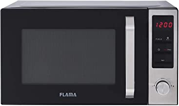 Flama Microondas Negro 1848FL, 800W, Capacidad de 23L, 8 Programas Automáticos, Control Digital, Función Grill con Potencia de 1000W