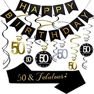 50th Birthday Party Decorations, 50th Birthday Gifts for Women/Men, Happy 50th Birthday Banner, Sparkling Celebration 50 Hanging Swirls, 50 and Fabulous Sash, 50th Birthday Party Supplies Anniversary