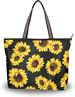 ZOEO Sunflower Black Large Tote Bags Women Summer Handbags with Zipper Shopper Bag for Mother Day