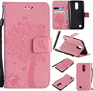 LG K20 V Case,LG K20 Plus Case,LG LV5 Case,LG K10 2017 Case,TICTOCK Caving Tree Kickstand Flip PU Wallet Leather Protective Case Cover with Card Slot & Wrist Strap for LG Harmony/Grace (Pink)