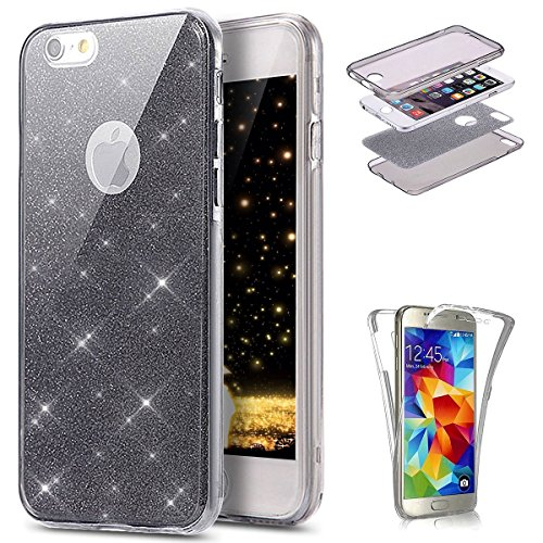 JAWSEU Etui iPhone 7,Coque iPhone 8 Transparent Silicone Gel Ultra Mince TPU 360 Degrés Full Body Protection Brillant Bling Glitter Paillette Flexible Silicone Case Coque Housse Etui,Noir