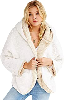Women Casual Winter Hooded Cardigan Coat Warm Faux Fur Reversible Outwear with Pockets