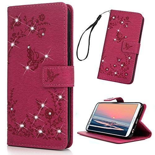 Huawei Y7 2018 Handyhülle Honor 7C Hülle Glitzer Starss Schmetterling Muster Leder Tasche Flip Case Cover Schutzhülle Silikon Handtasche Skin Ständer Klapphülle Schale Bumper Magnetverschluss-Roserot - 2