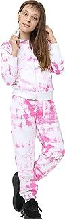 Kids Girls Tracksuit Tie Dye Print Pink Hooded Hoodie & Bottom Jogging Suits