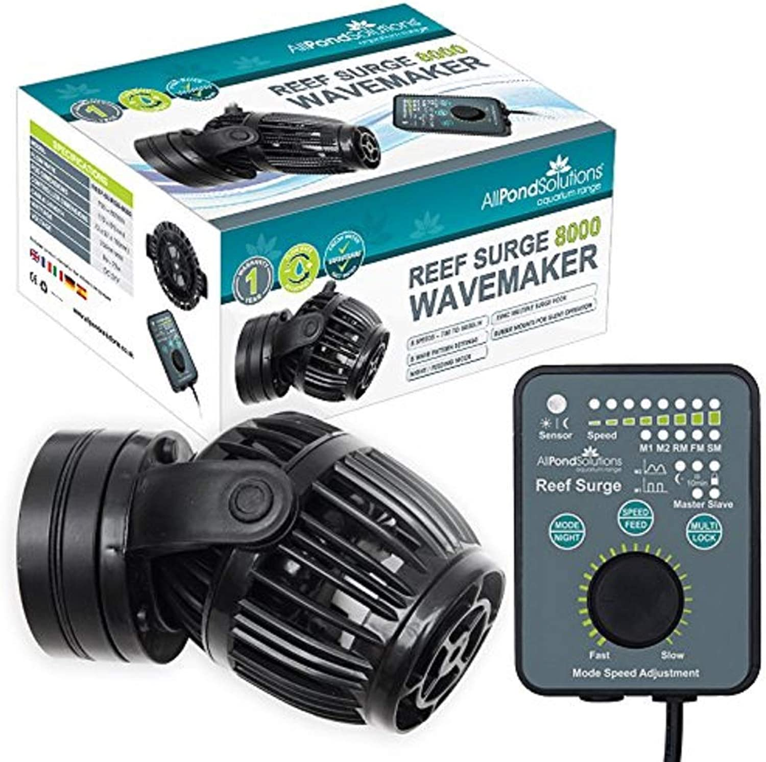 All Pond Solutions Reef Surge Adjustable Programmable Aquarium Wave Maker Powerhead with Remote Control, 5008000 Litre  Hour Flow Rate