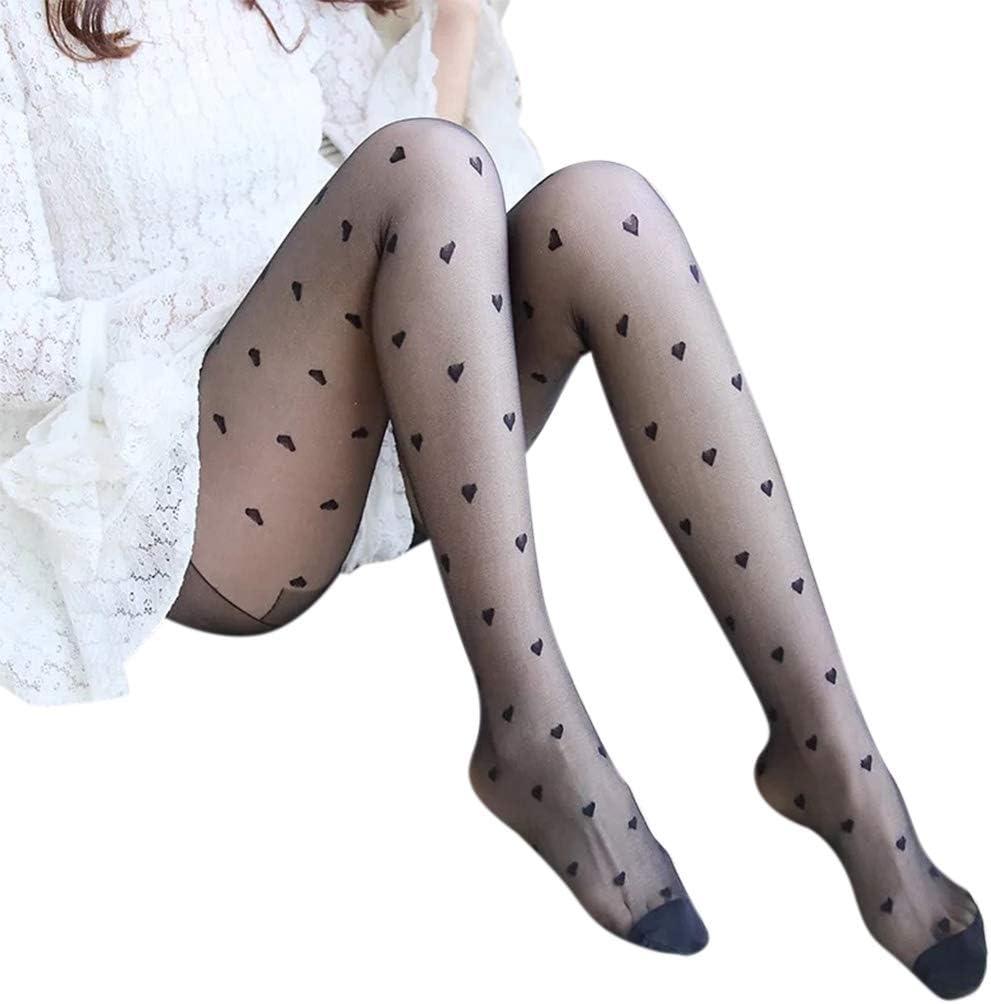 MYBOON Women Sexy Silky Nylon Sheer Pantyhose Heart Lace Print Patterned Tights Hosiery,Fishnet,Black+Heart