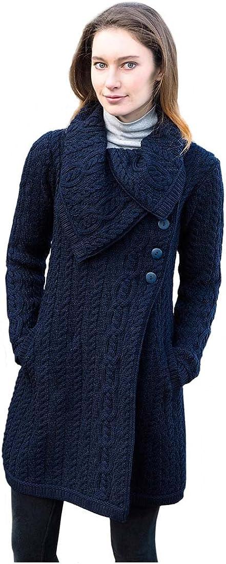 100% Merino Wool Aran Crafts Ladies 3 Button Long Cardigan Navy
