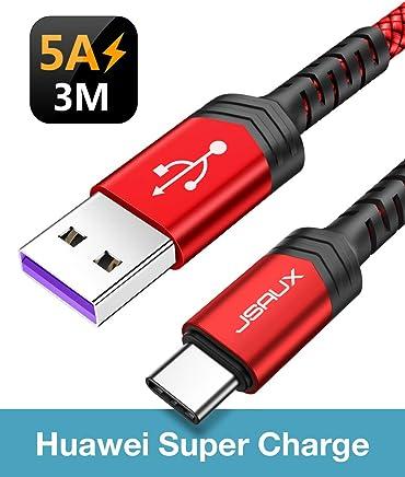 JSAUX - Cable USB C de 5 A (3 m, Carga rápida, Tipo C, Cable de Datos Trenzado de Nailon para Huawei P30, P30 Pro, P20, P20 Pro, P20 Lite, P10 P9 Plus, Mate 20, Mate 10 Pro, Honor 10 V10 V20) Rosso