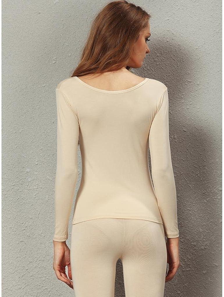 Liang Rou Women's Crewneck Long Johns Ultra Thin Modal Thermal Underwear Top & Bottom Set