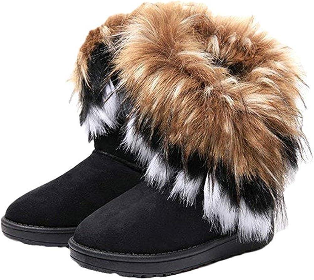 Naughtyangel Women Winter Warm Snow Ankle Boots Low Heels Faux Fox Rabbit Fur Tassel Shoes
