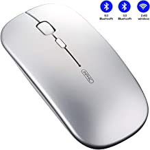 INPHIC Bluetooth Mouse, Multi-Device Slim Silent Rechargeable Bluetooth Wireless Mouse (Tri-Mode: BT 5.0/3.0+2.4G), 1600DPI Portable Mouse for Laptop PC Computer Tablets MacBook iPadOS, Silver