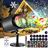 Christmas Projector Lights, AGPTEK LED Lights No Slides 2-in-1, 13 Water Wave & Moving Patterns, Remote Control, Waterproof for Outdoor Indoor Party Holiday Decorations