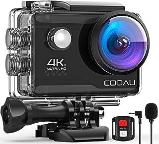 COOAU Cámara de acción 4K Wi-Fi de 20MP micrófono externo con control remoto estabilización eis bajo el agua y lapso de tiempo con baterías y accesorios Negro
