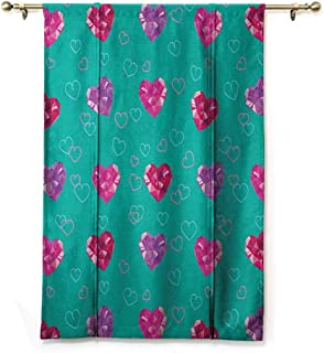 Thermal Insulated Blackout Curtain Teal,Crystal Hearts Gemstone Figures Love Valentines Day Celebrating Romantic Print, Red Fuchsia Teal,35