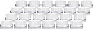 Clear Glass 7 ml Thick Wall Airtight Small Balm Sample Wax Concentrate Jars with White Foam Lined Smooth Lids (24 Pack)