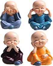 Small Buddha Statue Monk with Straw Hat Resin Figurine Crafts Home Decorative(4 Pack)