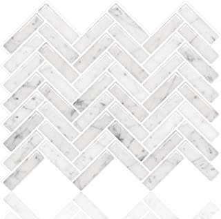 STICKGOO Peel and Stick Tile Backsplash, Sky Marble Herringbone Adhesive Backsplash Tiles, Stick on Tiles for Kitchen & Bathroom (Pack of 10, Thicker Design)