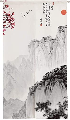 Ofat Home Chinese Traditional Painting Door Tapestry Marvelous Mountain Polyester Ink Painting Doorway Curtain for Ho...