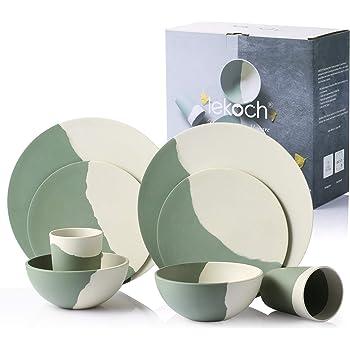 Eco-friendly bamboo dinnerware dinner plate //bamboo fiber dinnerware dishwasher safe cup 8 PCS reusable bamboo dinnerware soup bowl Salad plate Blue Picnic dinnerware set Set for 2 person