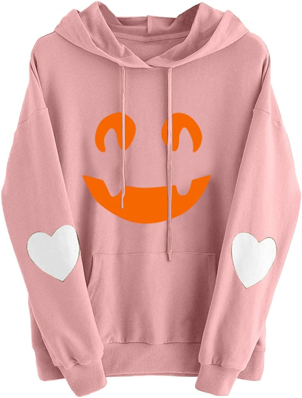 AIHOU Hoodies for Teen Girls Funny Cute Halloween Tops Aesthetic Graphic Tunic Kawaii Pullover Hooded Sweatshirts