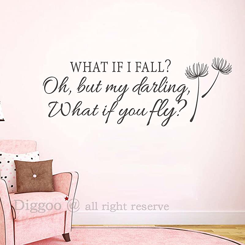 Inspirational Wall Decal Quote What If I Fall Oh My Darling What If You Fly Girls Room Decor