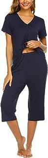 Pajamas Set Short Sleeve Sleepwear Womens Button Up Top and Capri Pajama PJ Set S-XXL