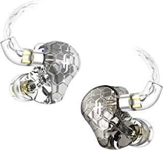 SIMGOT EK3 3BA+1DD High-Res in-Ear Monitor Headphones with Four Tuning Models, Hybrid Triple Balanced Armature Driver(3 Knowles BA), 3D Printed Resin Cavity, IEM Earphones with Detachable Cable(Clear)