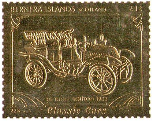 Isole Bernera Scotland : Veicoli d'epoca - De Rion Bouton 1903 / foglia oro bollo/perforato Valore nominale £ 12/1987 / Bernera/MNH