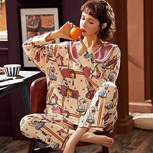 CZYNB Pijamas de la Moda Pijamas Pijamas otoño Manga Larga algodón Ropa de Dormir Dulce Lindo Princesa Estilo al Aire Libre Mujeres Inicio Ropa de Dormir Sleep Lounge Purple XXL