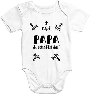MoonWorks Kurzarm Baby Body Papa du schaffst das lustiger Strampler Bio-Baumwolle Juge Mädchen Onesie