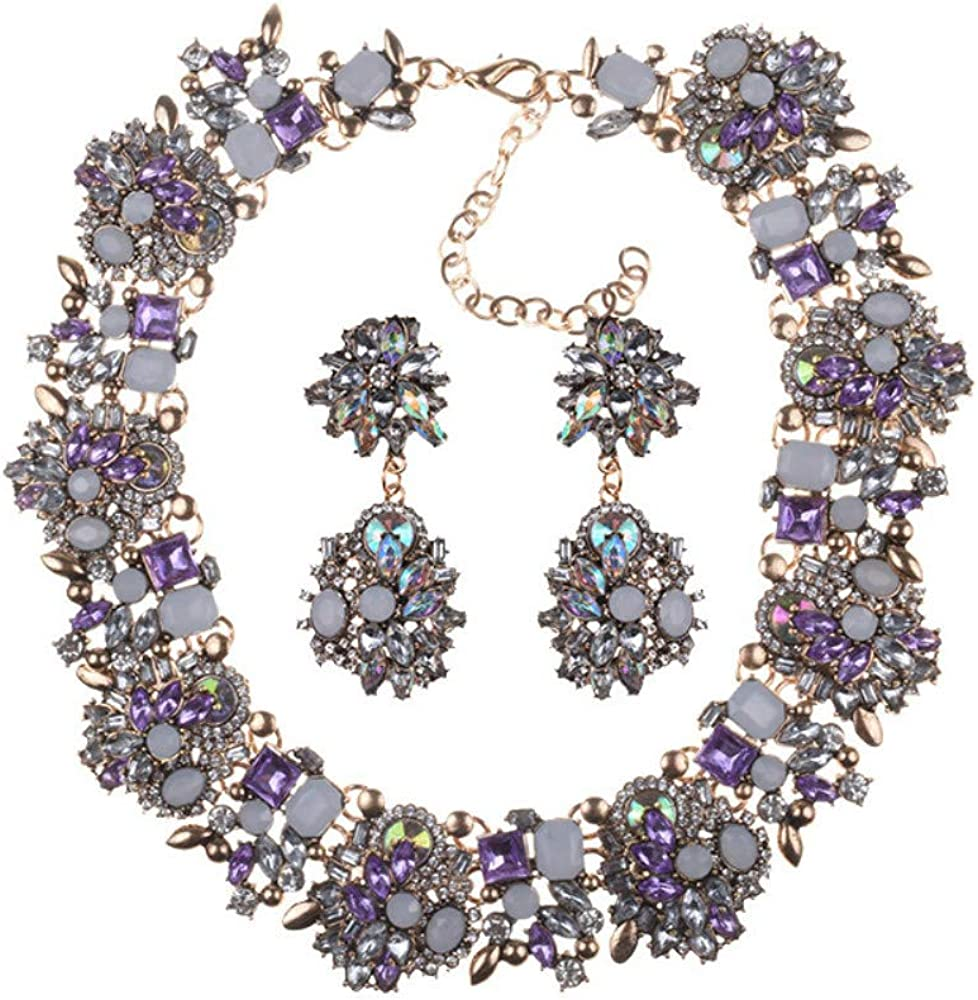 Fashion Jewelry Set Vintage Chain Multi-Color Crystal Collar Choker Statement Bib Necklace and Earrings