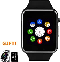Amazqi Smart Watch, Smartwatch Phone with Camera TF Card Pedometer SIM Card Slot Music Player Compatible for iOS iPhone (Partial Functions) Android Phone Samsung HTC Sony LG Huawei for Men Women Kids
