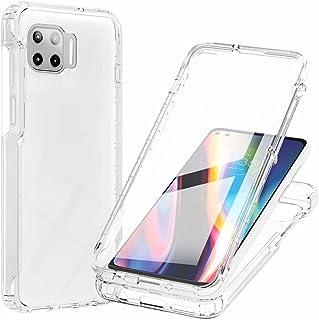 WJMWF Kompatibelt med Motorola Moto G 5G Plus Fodral Bult-in Skärmskydd Transparent Gradient Soft TPU Skyddsfodral 3 i 1 3...