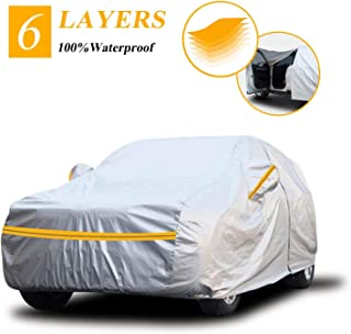 Autsop Car Cover Waterproof all Weather, 6-Layers Car Covers for Automobiles Snowproof Sunproof Dustproof Windproof Hail P...