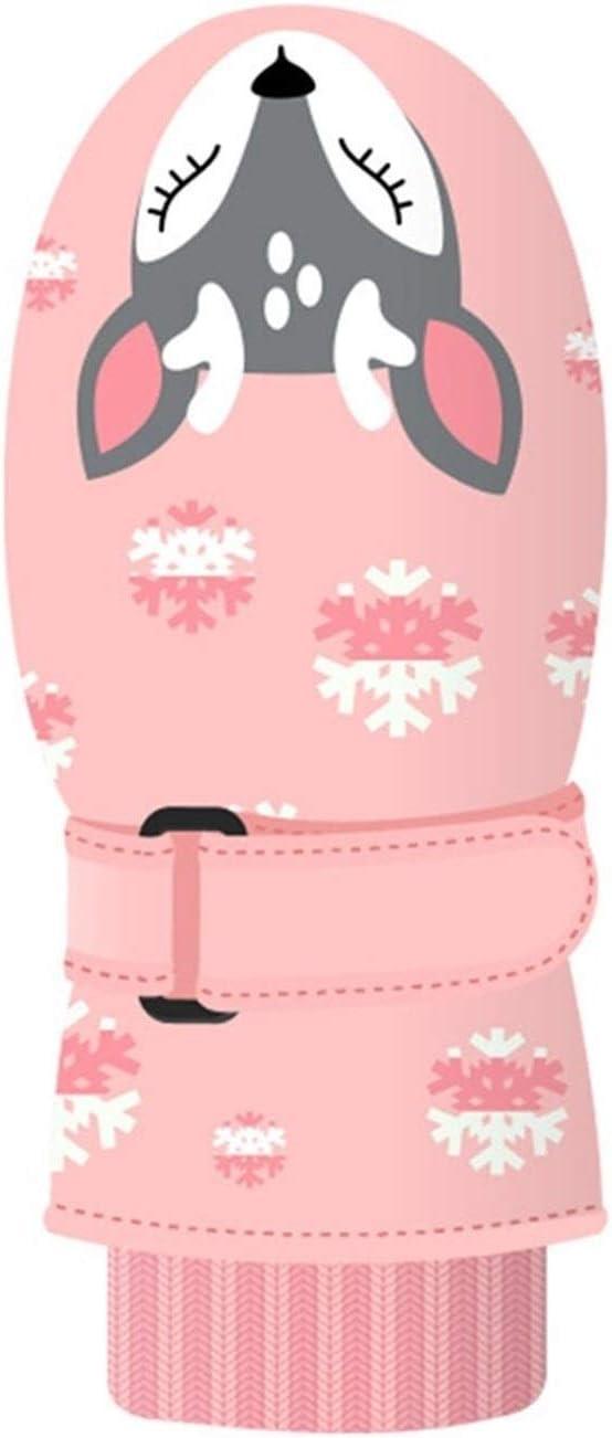Lupovin-Keep Warm Winter Children Ski Five-Finger Gloves Printed Polyester Waterproof Callous Quick Winter Gloves Children Gloves Non-Slip (Color : Pink)