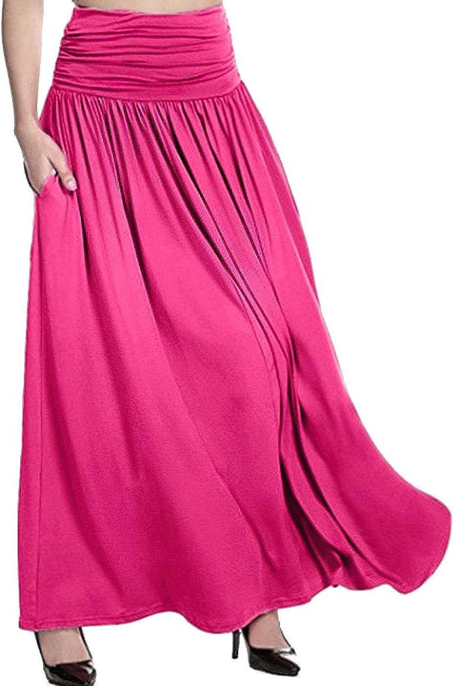 Fashion Casual High Waist Solid Maxi Swing Gypsy Long Skirt Plus Size