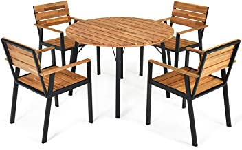 Tangkula 5 PCS Outdoor Patio Dining Set with Umbrella Hole, Garden Dining Furniture w/Round Table & 4 Stacking Armchairs, ...
