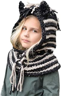 Cute Baby Toddlers Kids Warm Squirrel Animal Hats Knitted Hood Scarf Beanies for Autumn Winter