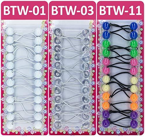 Tara Girls Twinbead Multi Cute Mixed Design Ponytail Elastics Pack Of 3 (COMBO 19)
