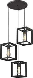Emliviar 3-Light Cluster Pendant Lights, Industrial Kitchen Island Lighting Fixture, Black Finish, 20061D-3 BK