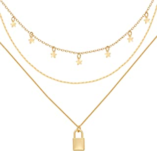 Gold Layered Necklaces for Women Girls - Lane Woods Dainty Layering Coin Lock Eye Snake Pendant Jewelry Gifts