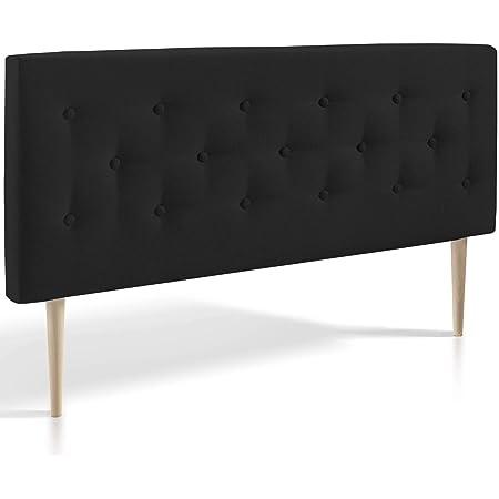 marcKonfort Tête de lit Oslo 140X100 cm, capitonnée Tissu Anthracite, Épaisseur Totale de 8 cm