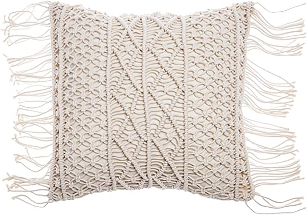 RISEON Bohemia Handmade Cotton Macrame Fringe Throw Pillow Cases Cover Pillowcases For Couch Sofa Boho Home Decor Gift 18 X 18 Inches Off White B