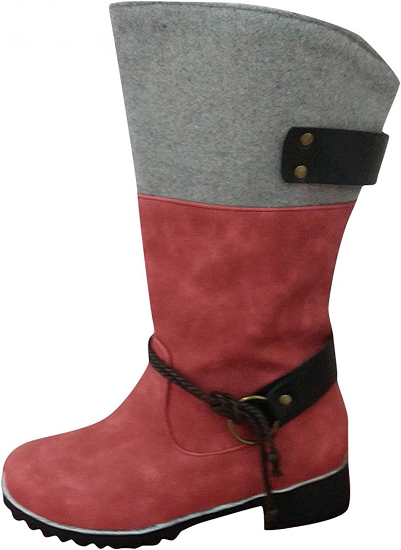 Zieglen Ankle Boots for Women, Zipper Knee High Winter Booties Low Heel Snow Boots Hiking Boots Womens Cowboy Boots Shoes