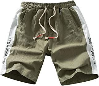 Pantalones Cortos para Hombre Personalizadas Moda Color S/ólido M/últiples Bolsillos Deportivos Casuales Cintura el/ástico con cord/ón Bermudas Cortos de Verano MMUJERY