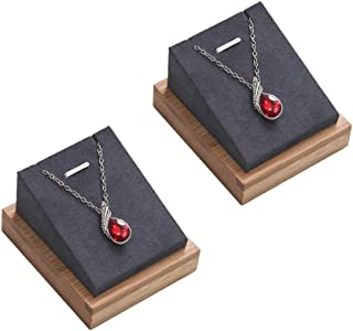 Coward Bamboo 2 Pcs Necklace Pendant Chain Display Stand Jewelry Holder Organizer (Gray Velvet)