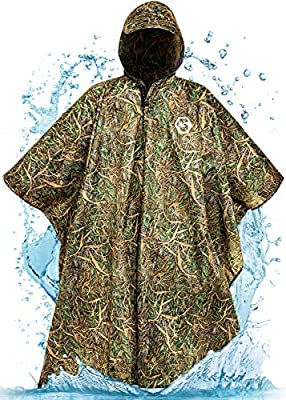Foxelli Hooded Rain Poncho – Waterproof Emergency Military Raincoat for Adult Men & Women – Lightweight, Multi-Use, Reusable Rain Gear for Camping, Fishing & Sports Events